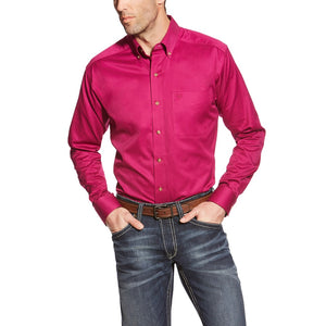 Ariat Men's Fitted Solid Twill Long Sleeve Button Down Shirt- Style #10018196