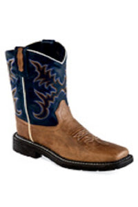 Old West Youth Brown And Blue Leather Boot- Style #WB1002Y