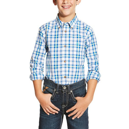 ARIAT BOY'S ISAAC OLYMPIAN BLUE BUTTON DOWN SHIRT- STYLE #10019656