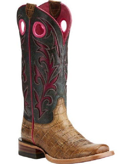 ARIAT WOMEN'S CHUTE OUT ANTIQUE CROCODILE PRINT BOOT- STYLE #10021628
