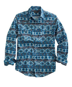 TIN HAUL MEN'S BLANKET PRINT SNAP SHIRT- STYLE #10-001-0064-0329-BLUE