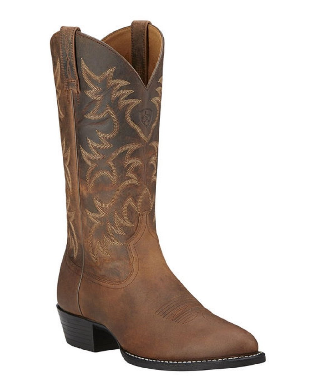 ARIAT MEN'S R TOE HERITAGE WESTERN BOOTS - STYLE #10002204