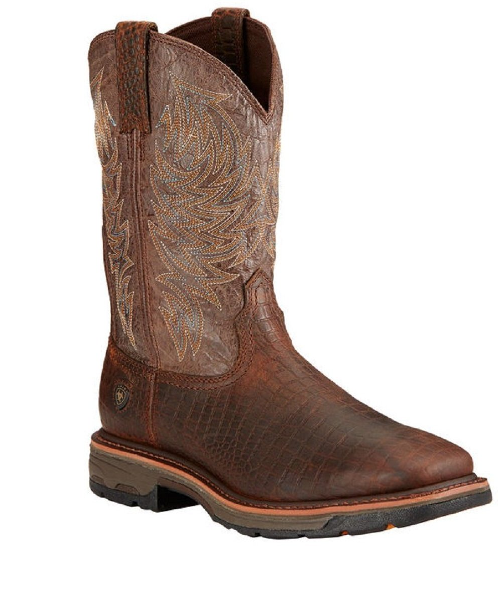 ARIAT MEN'S WORKHOG CROC PRINT WORK BOOT- STYLE #10017415