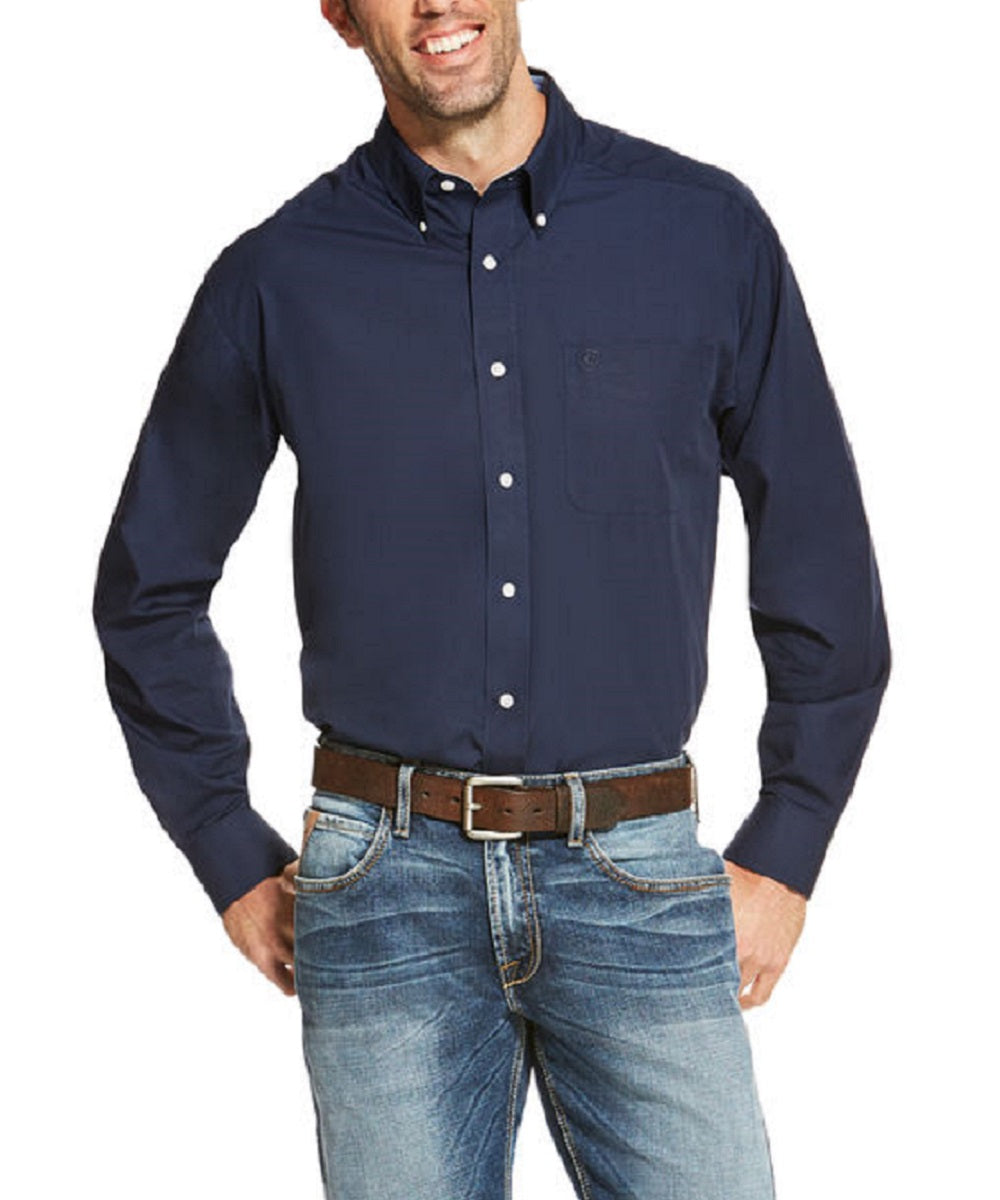 ARIAT MEN'S LONG SLEEVE BUTTON DOWN SOLID SHIRT - STYLE #10020330