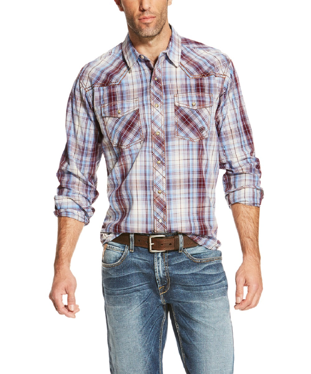 ARIAT MEN'S LONG SLEEVE SNAP PLAID SHIRT - STYLE #10020399