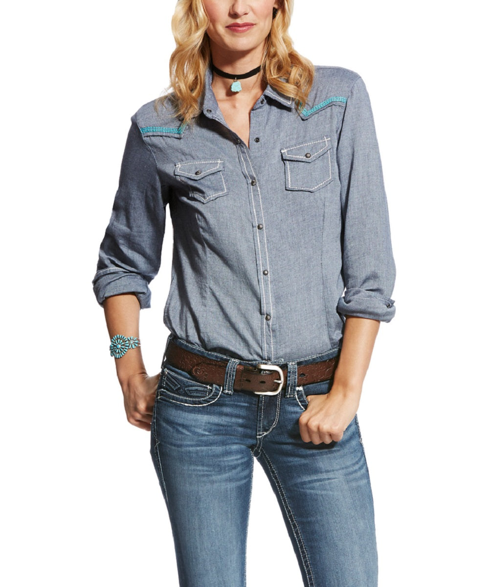 ARIAT WOMEN'S LONG SLEEVE DENIM SNAP SHIRT - STYLE #10022076