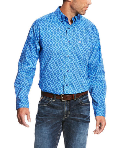 ARIAT MEN'S LONG SLEEVE BUTTON DOWN MARINA PRINT SHIRT - STYLE #10022774