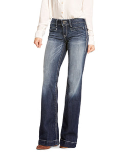 Ariat Women's Trouser Mid Rise Stretch Entwined Wide Leg Jean- Style #10025302