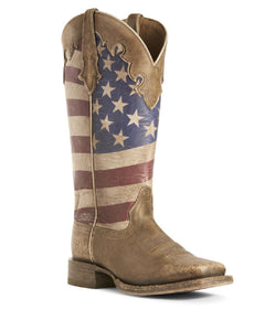 Ariat Women's Ranchero Stars And Stripes Western Boot- Style #10027254