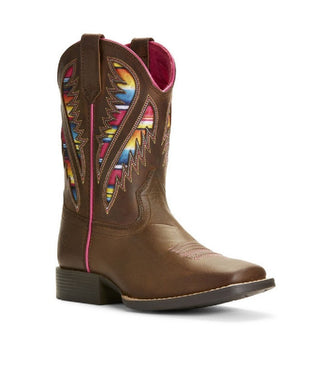 ARIAT YOUTH QUICKDRAW VENTTEK SERAPE WESTERN BOOT- STYLE #10027306-BROWN