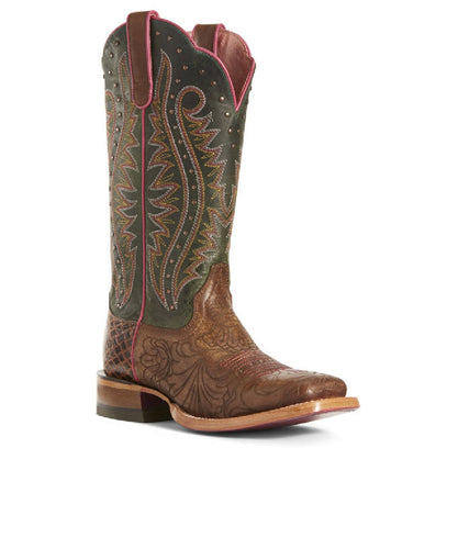 Ariat Women's Lasered Floral Brown Montage Western Boot- Style# 10027364