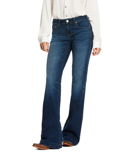 Ariat Women's Trouser Mid Rise Stretch Kelsea Wide Leg Jean- Style #10027695