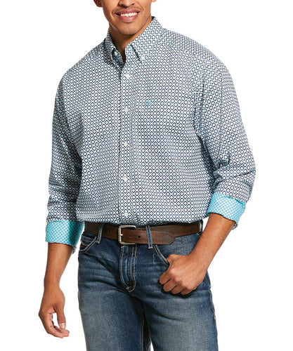 Ariat Men's Wrinkle Free Porterville Print Classic Fit Button Down Shirt- Style #10030778