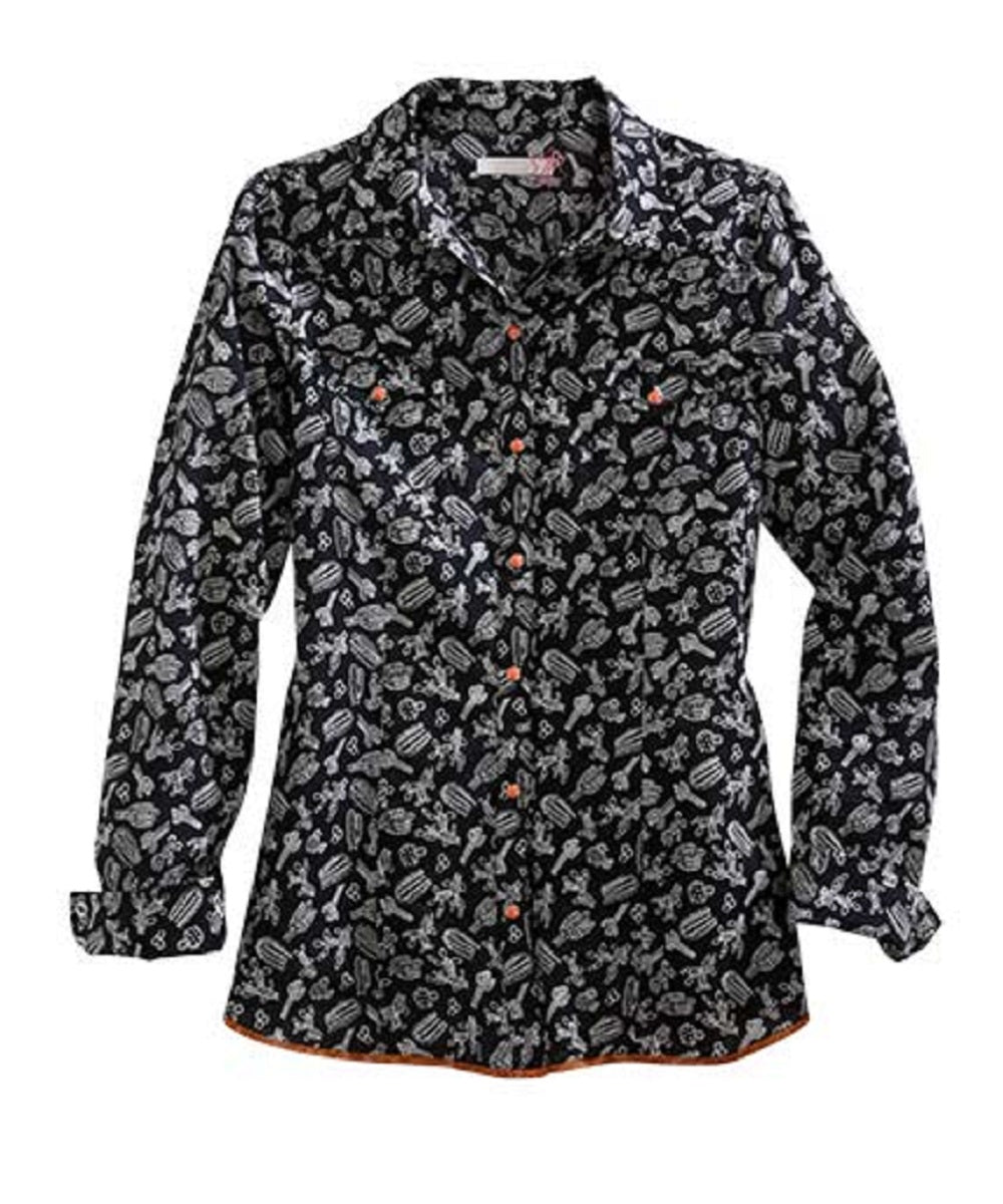 Tin Haul Women's Tossed Cactus Print Snap Shirt- Style #10-050-0064-0268