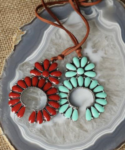 Turquoise Haven Women's Squash Blossom Necklace- Style #101853
