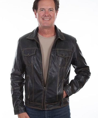 Scully Men's Black Vintage Leather Jacket- Style #1032 229 BLK