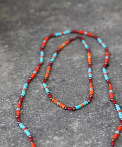 Turqoise Haven Women's Red & Orange Short Necklace- Style #1195