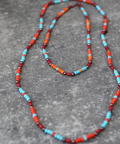 Turquoise Haven Women's Red &Orange Long Necklace- Style #1196