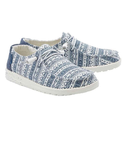 Hey Dude Women's Wendy Blue Aztec Print Shoe- Style #121412660