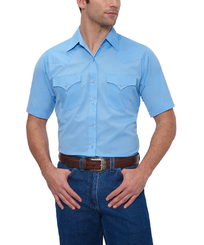 Ely Walker Men's Light Blue Western Snap Shirt- Style#15201605-82