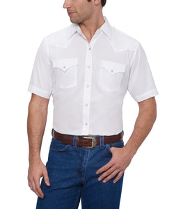 Ely Walker Men's White Western Snap Shirt- Style#15201605