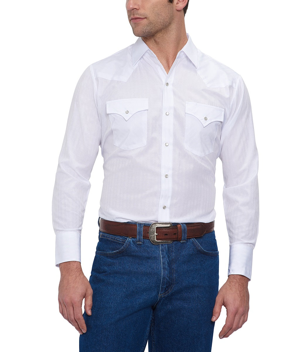 Ely Walker Men's Cattleman Snap Shirt- Style #15201934 WHT