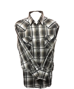 Ely Walker Men's Cattleman Gray And Black Snap Shirt- Style #152029092 GRY/BLK