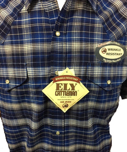 Ely Walker Men's Cattleman Plaid Short Sleeve Snap Shirt- Style #15208558