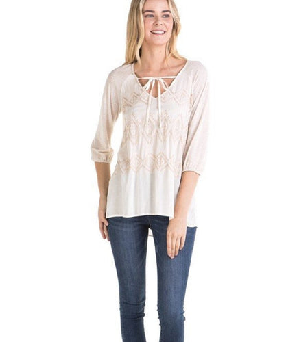 MYSTREE WOMEN'S POINTELLE KNIT TOP- STYLE #16041