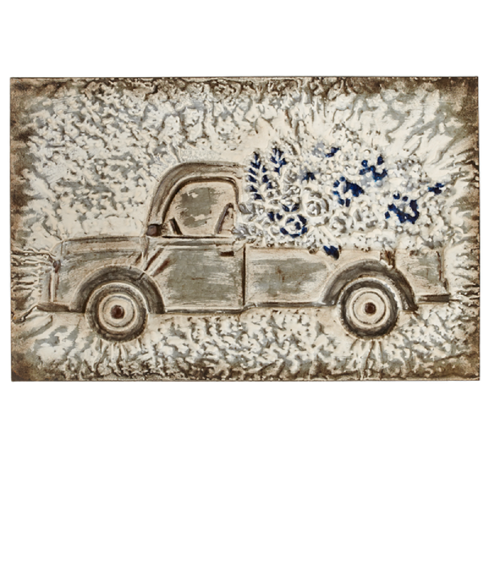 Ganz Embossed Truck With Flowers Wall Decor- Style #163338