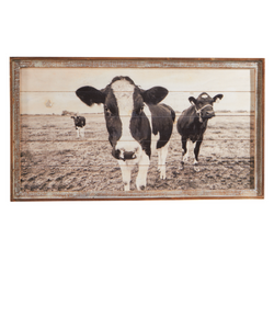 GANZ FRAMED SLAT COW WALL DECOR- STYLE #164509