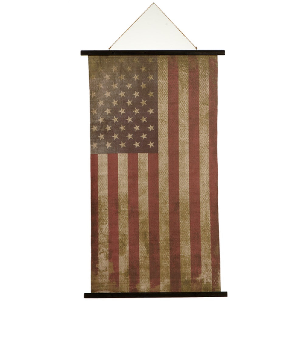 Ganz Vintage American Flag Rolled Canvas Wall Decor- Style #164523