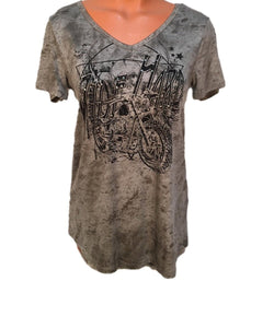 VOCAL WOMEN'S RIDE HARD SHORT SLEEVE SHIRT- STYLE #17063S-TAUPE
