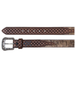 Trenditions Men's Hooey Diamond Design Hair On Belt- Style #1833BE3