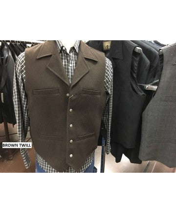 RED SKY MEN'S BROWN TWILL VEST- STYLE # 222 BRN TWI