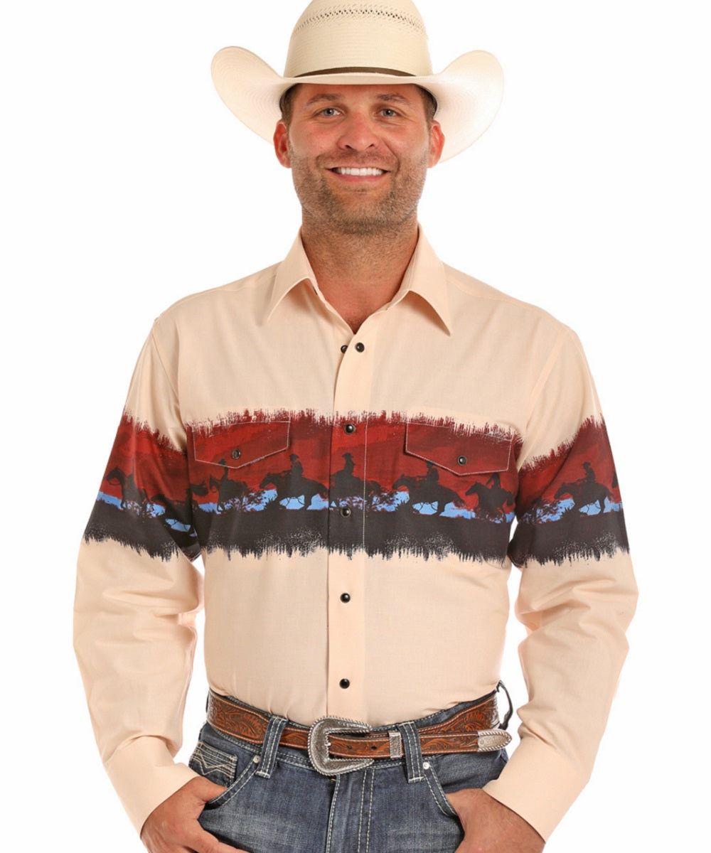 Panhandle Men's Scenic Print Snap Shirt- Style #30S6546