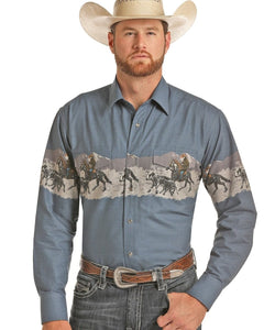 Panhandle Slim Men's Scenic Border Snap Shirt- Style #30S9033-43-BLUE