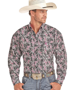 Panhandle Men's Fuchsia Paisley Button Down Shirt- Style #36D1566