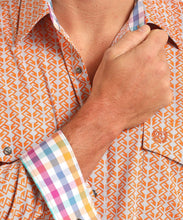 Panhandle Slim Men's Peached Poplin Print Button Down Shirt- Style #36Y6514