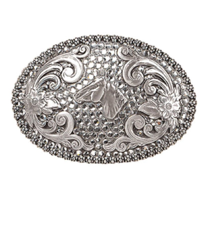 M&F WESTERN SILVER NOCONA HORSE HEAD BUCKLE- STYLE #37536