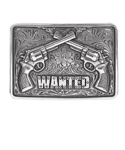 M&F WESTERN SILVER TONE NOCONA WANTED BUCKLE- STYLE #37656