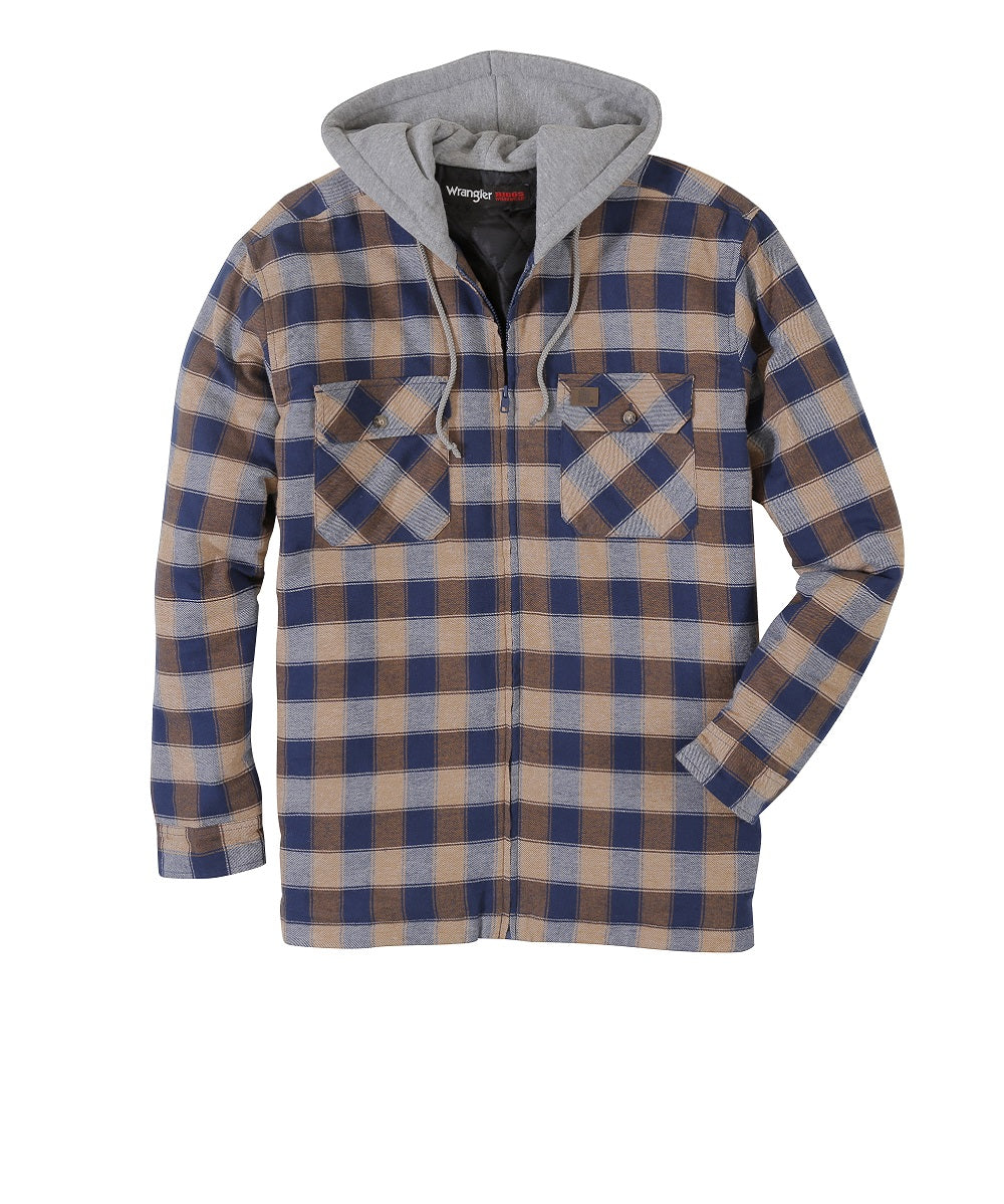 Wrangler Men's Riggs Workwear Hooded Flannel Work Shirt- Style #3W802NT-SMOKEY BLUE