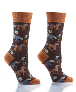 Gift Craft Women's Horse Print Crew Sock- Style #412132