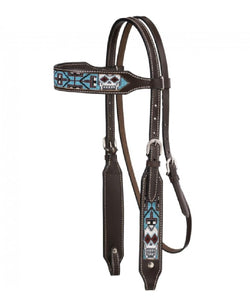 BEADED SUGAR SKULL BROW HEADSTALL -STYLE #45-7045