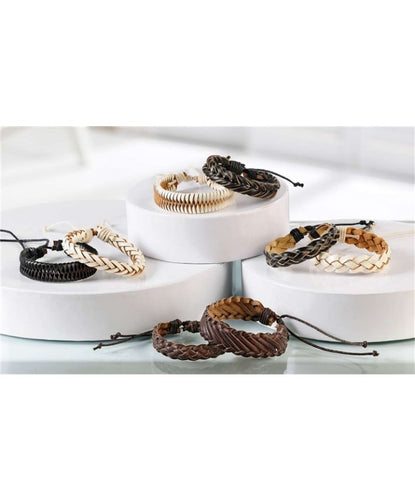GIFT CRAFT LEATHER BRAIDED BRACELET- STYLE #467432