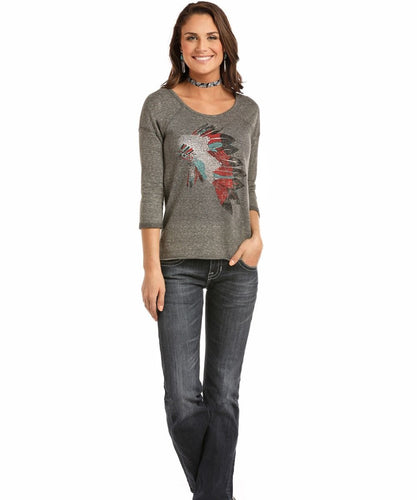 PANHANDLE SLIM WOMEN'S ROCK & ROLL COWGIRL 3/4 SLEEVE KNIT TEE- STYLE #48T8279