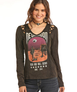 PANHANDLE SLIM WOMEN'S ROCK & ROLL COWGIRL BLACK KNIT TEE- STYLE #48T8309