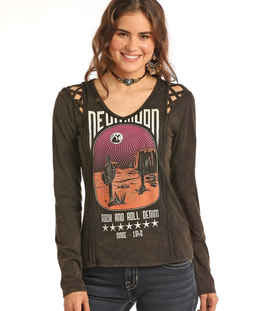 5b234f8aaaa PANHANDLE SLIM WOMEN S ROCK   ROLL COWGIRL BLACK KNIT TEE- STYLE  48T8309  ...