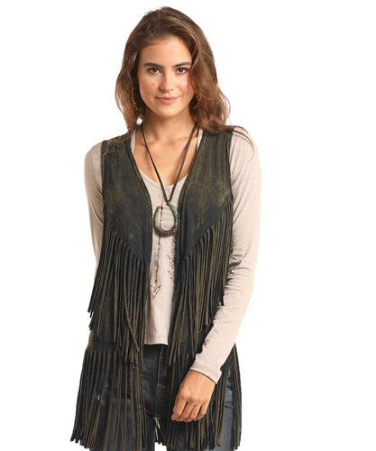 PANHANDLE WOMEN'S ROCK & ROLL COWGIRL JUNIORS DOUBLE FRINGE VEST-  STYLE #49V6746