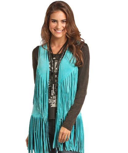 PANHANDLE WOMEN'S ROCK & ROLL COWGIRL JUNIORS DOUBLE FRINGE VEST- STYLE #49V7473